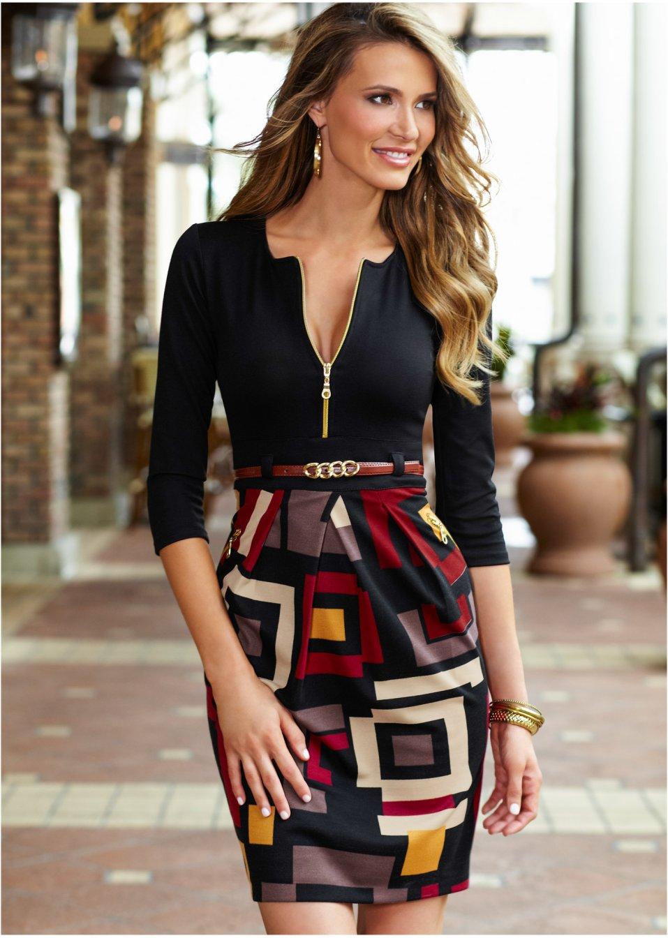 vestido com saia estampada preto comprar on line. Black Bedroom Furniture Sets. Home Design Ideas