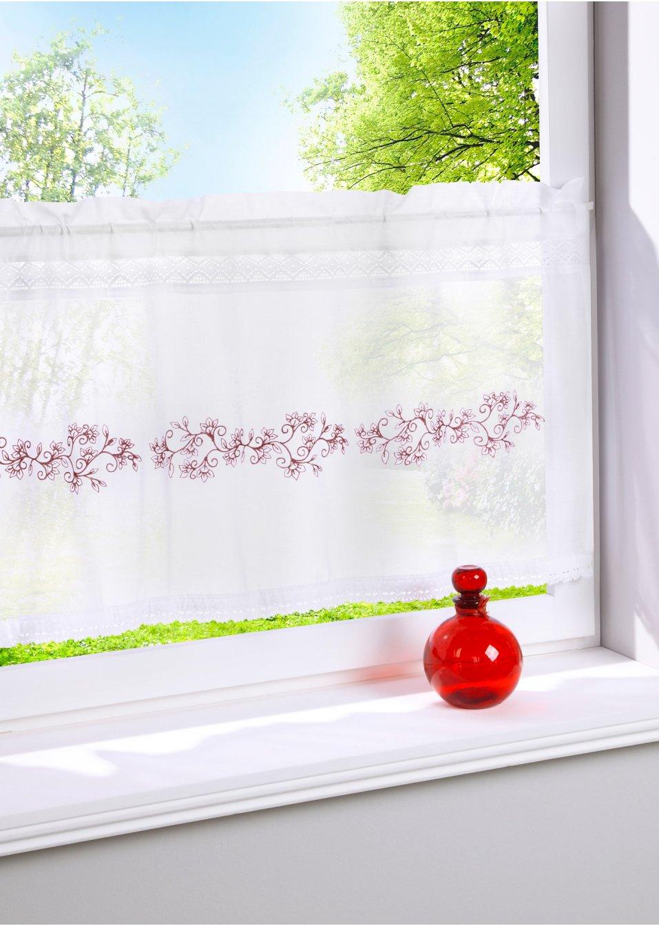 stilvolle dekoration f r k chenfenster scheibengardine. Black Bedroom Furniture Sets. Home Design Ideas