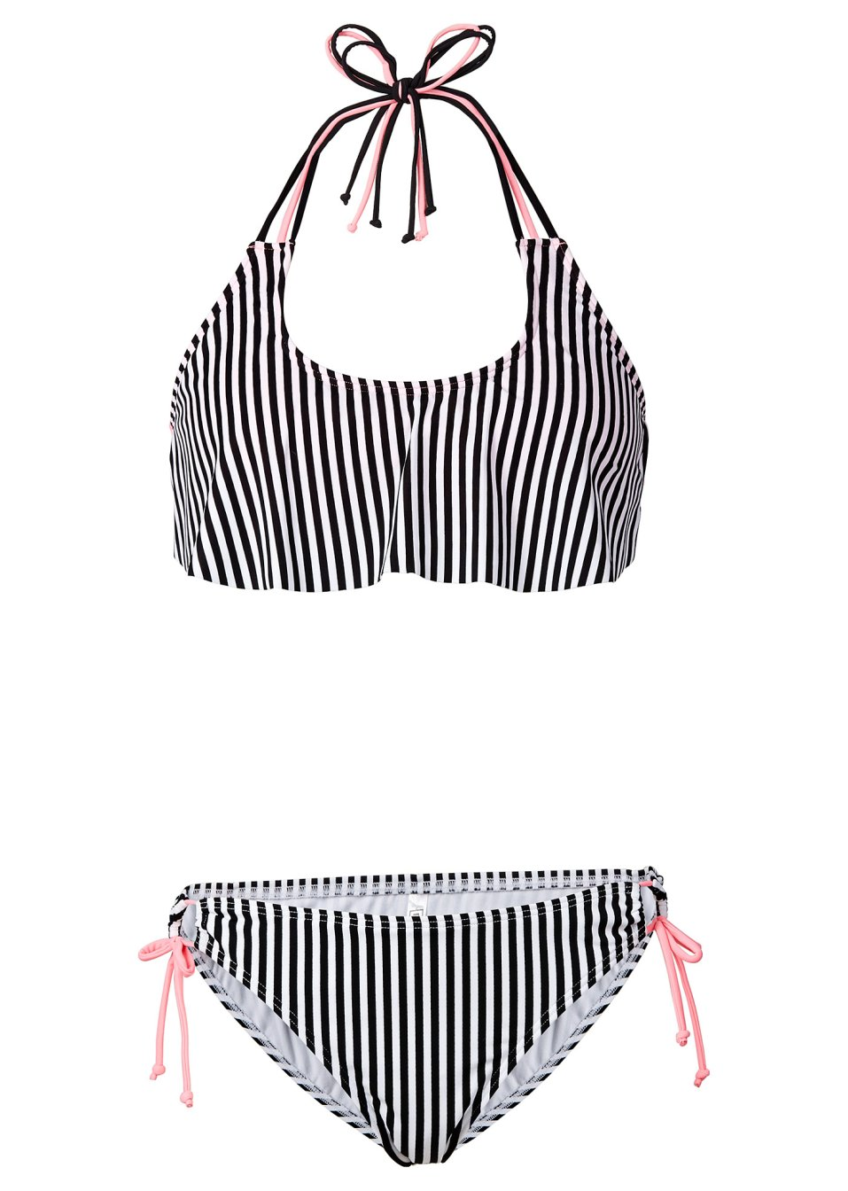 bandeau bikini mit volant 2 tlg set schwarz wei. Black Bedroom Furniture Sets. Home Design Ideas
