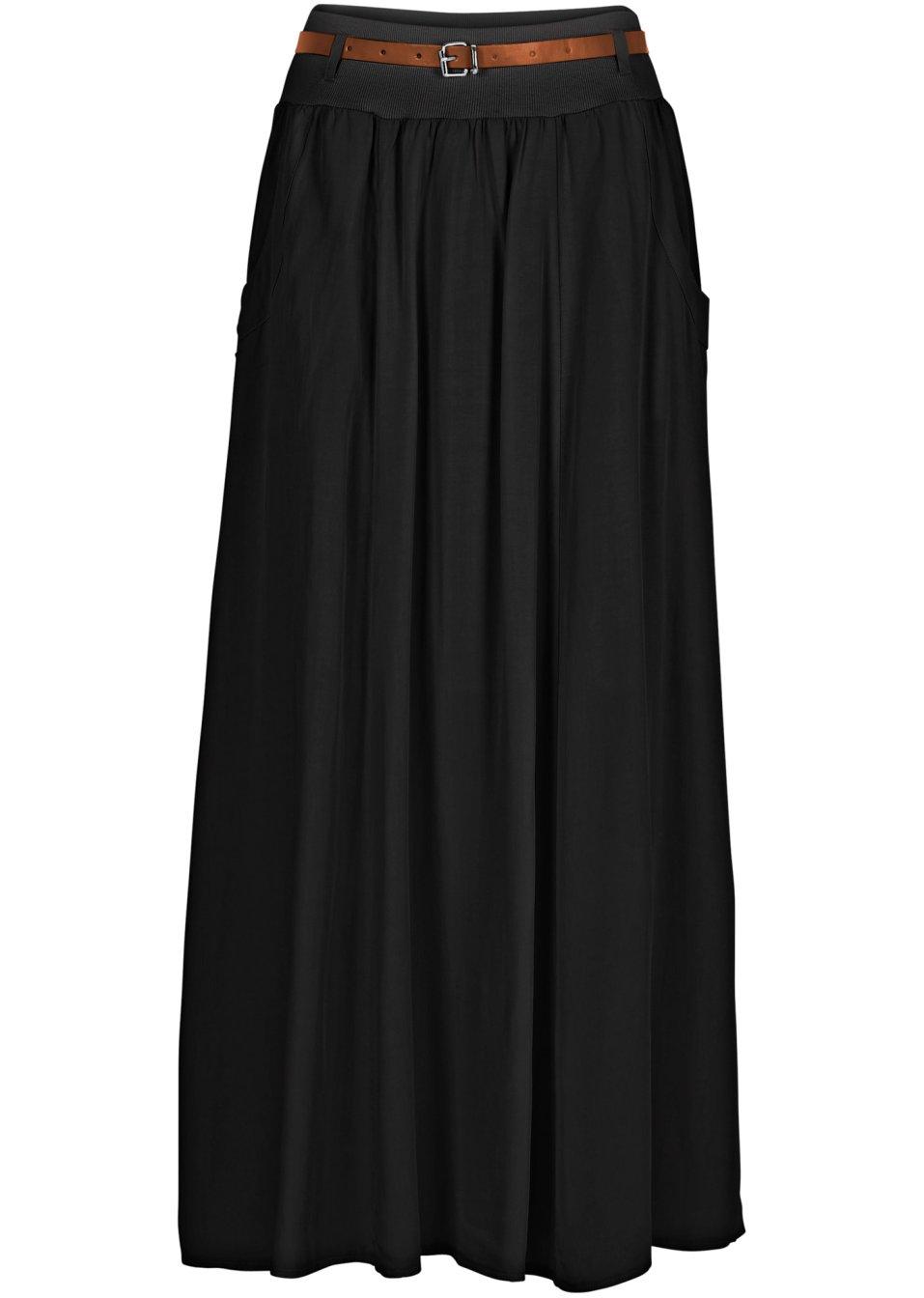 wundersch ner maxirock mit g rtel und eingrifftaschen schwarz. Black Bedroom Furniture Sets. Home Design Ideas