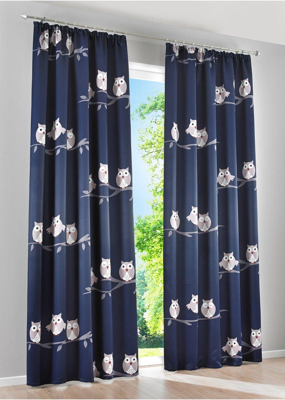 verdunkelungsvorhang lea 1er pack kr uselband blau. Black Bedroom Furniture Sets. Home Design Ideas