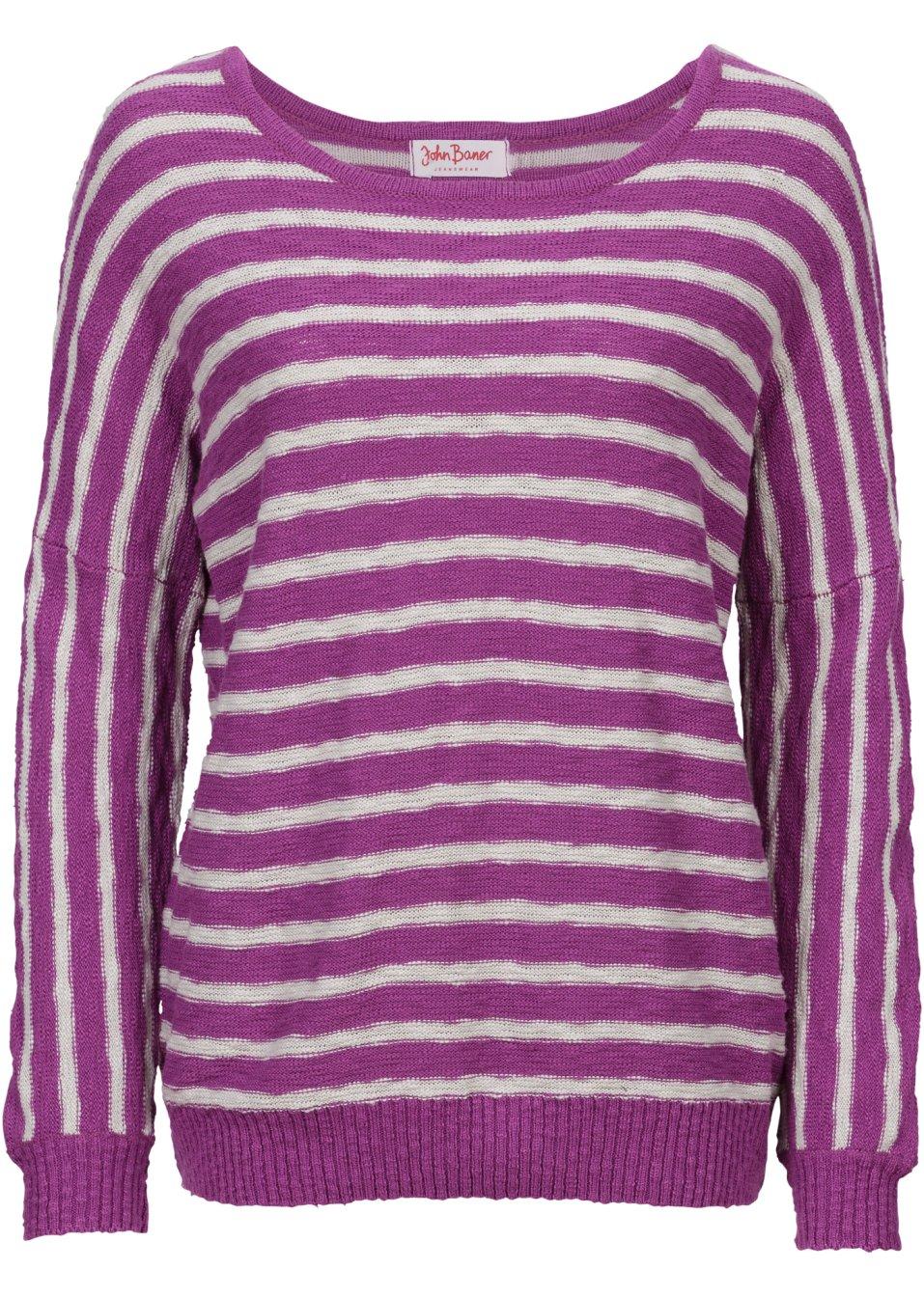 pullover mit fledermaus rmeln langarm lila john baner. Black Bedroom Furniture Sets. Home Design Ideas