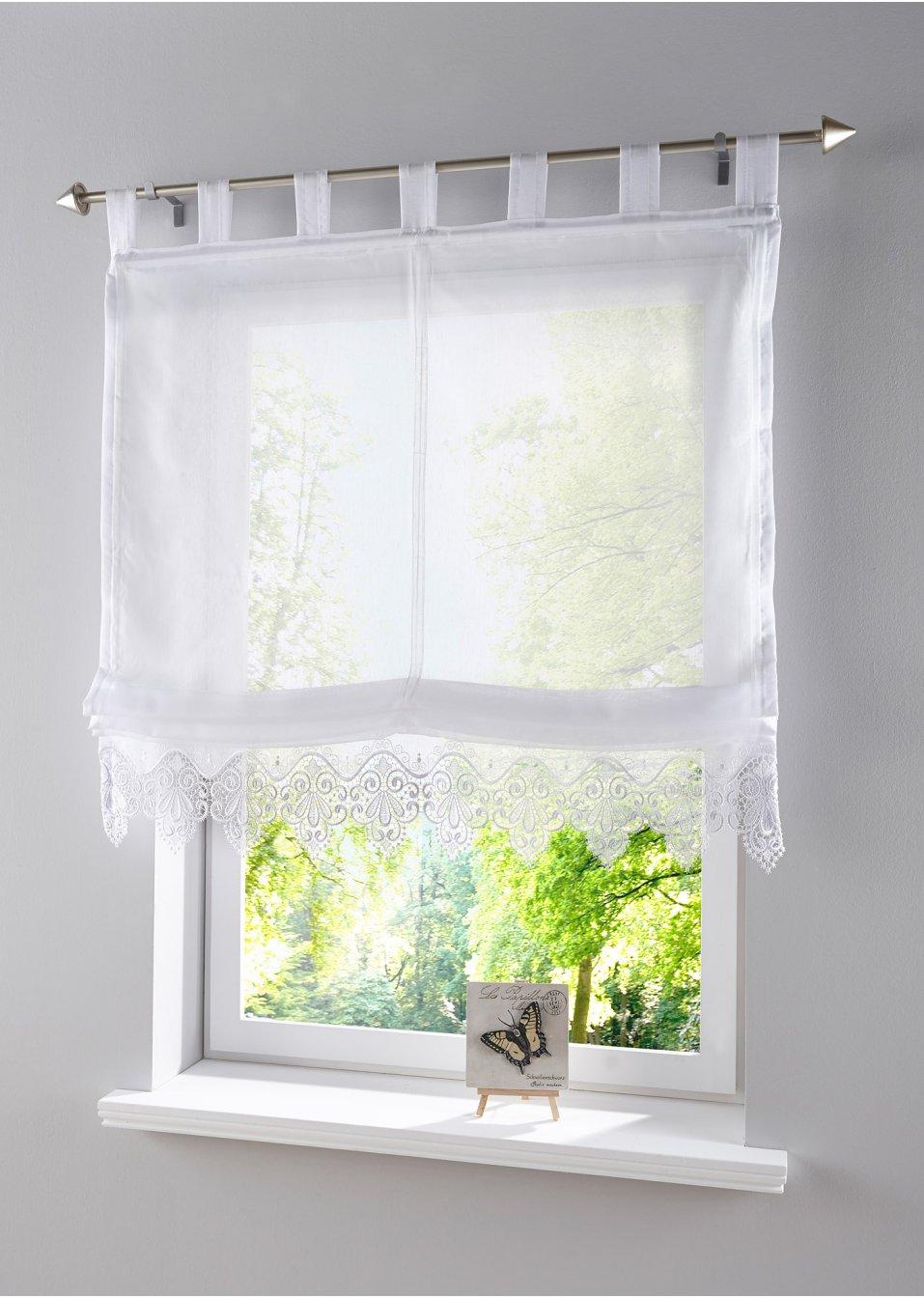 raffrollo spitze schlaufen wei bpc living online. Black Bedroom Furniture Sets. Home Design Ideas