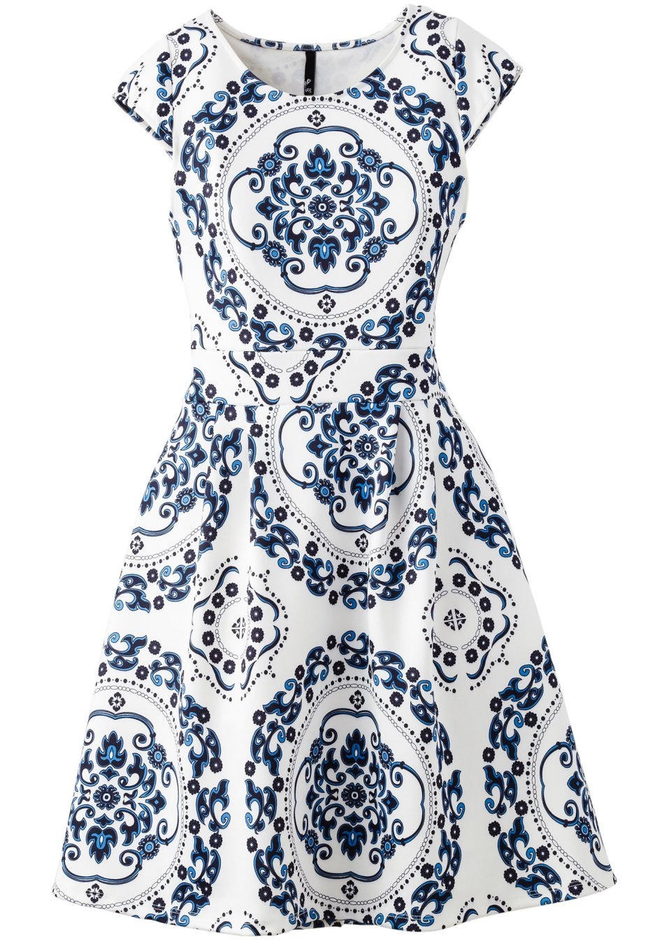 vestido em look scuba azul branco moda feminina. Black Bedroom Furniture Sets. Home Design Ideas