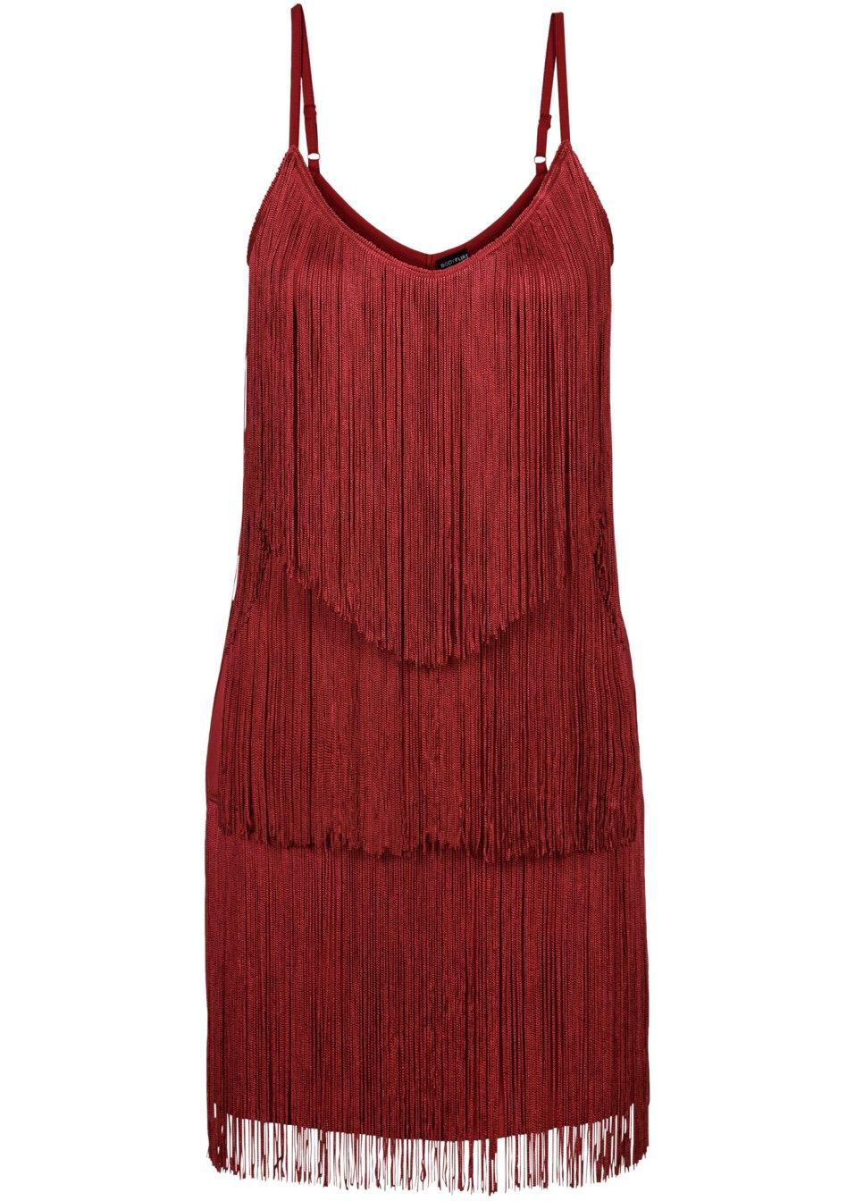 extravagantes spaghettitr ger kleid mit fransen rotbraun. Black Bedroom Furniture Sets. Home Design Ideas