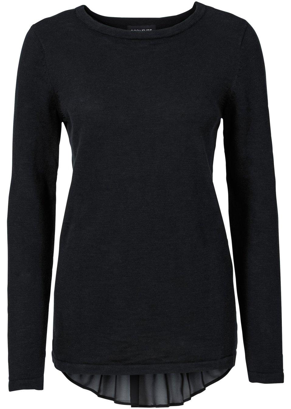 pullover mit bluseneinsatz schwarz damen bodyflirt. Black Bedroom Furniture Sets. Home Design Ideas