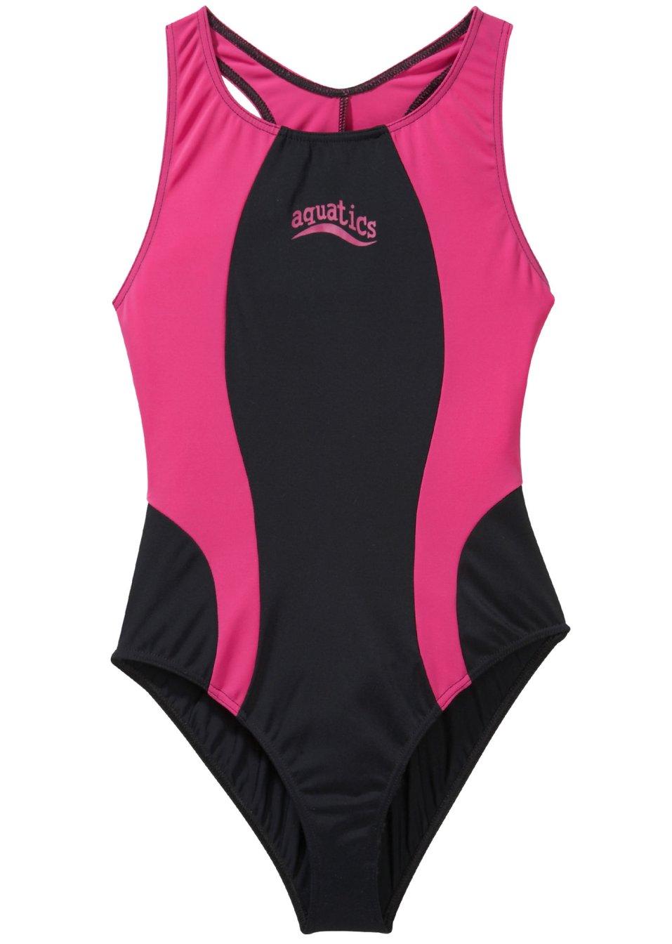 sportlicher badeanzug f r m dchen schwarz pink. Black Bedroom Furniture Sets. Home Design Ideas