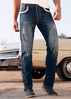 Яркие джинсы в сочетании синего, голубого и белого цветов с ярко...
