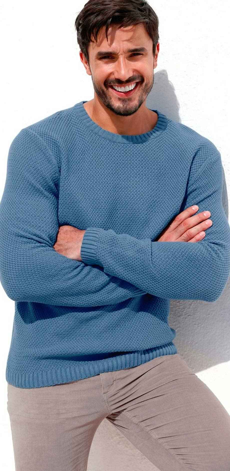 Herren - Pullover Regular Fit - jeansblau