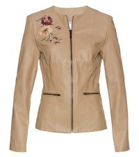 Damen - Lederimitat-Jacke mit Applikation - sand used