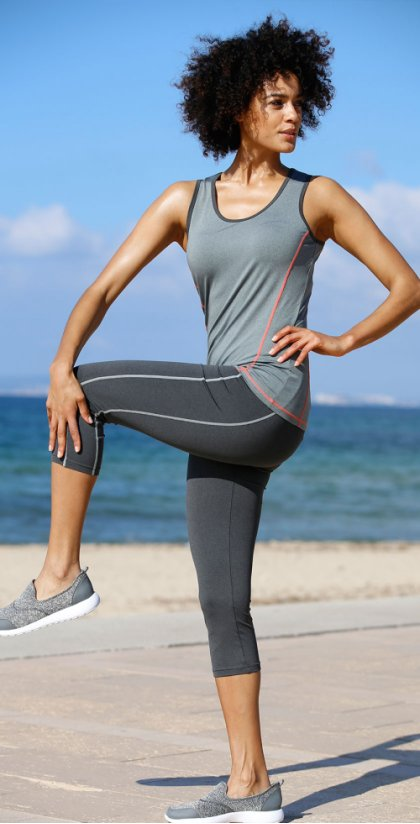 Damen - Sport-Leggings in 3/4-Länge - anthrazit meliert