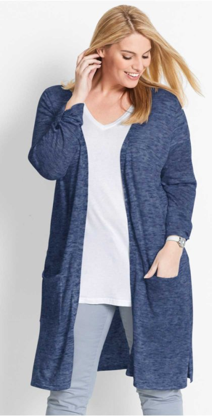 Damen - Long-Strickjacke - indigo meliert