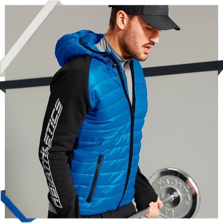 Herren - Funktions-Sportjacke Regular Fit - azurblau/schwarz