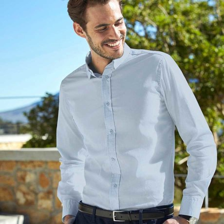 Herren - Herren Stretch-Hemd, Slim Fit - hellblau