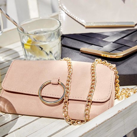 Damen - Clutch in Lackoptik - nude