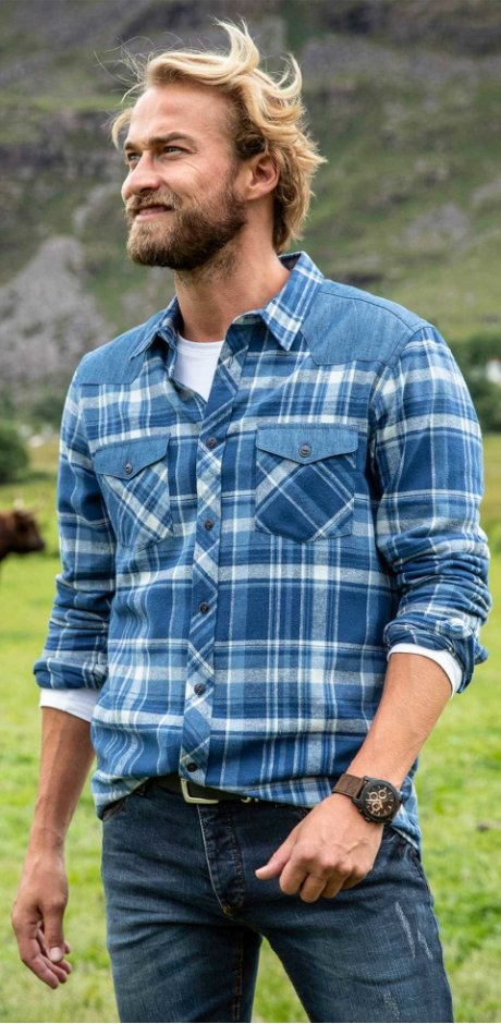 Herren - Hemd Regular Fit - blau kariert
