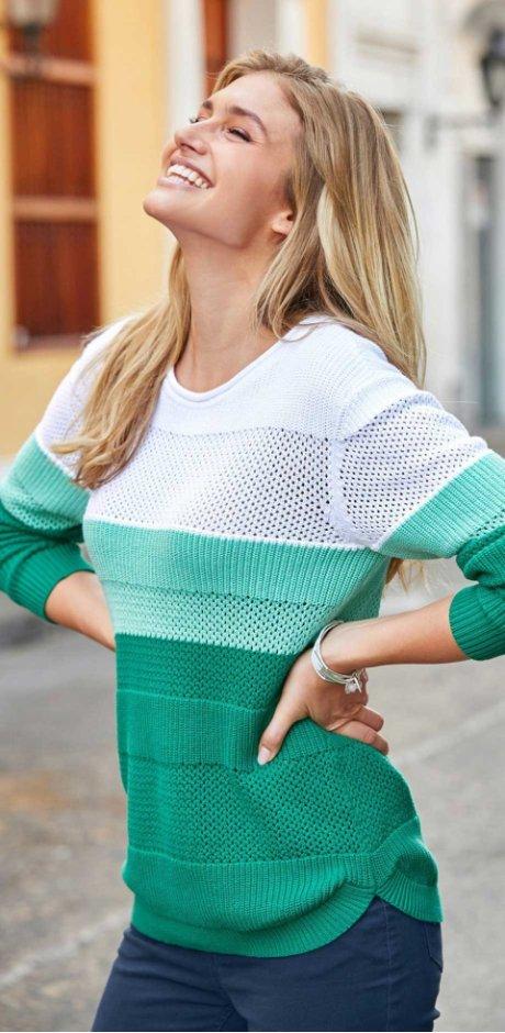 43a405f0d61eb0 Damen - Pullover in Strukturstreifenoptik - minzegrün aquamaringrün weiß  gestreift