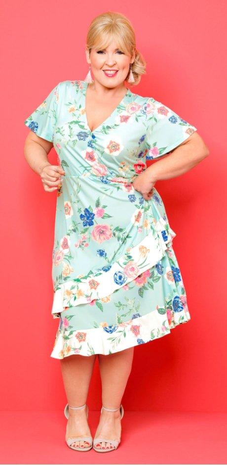 d1144306a96ba ... Damen - Kleid in Wickeloptik - designt von Maite Kelly - polarmint  geblümt ...