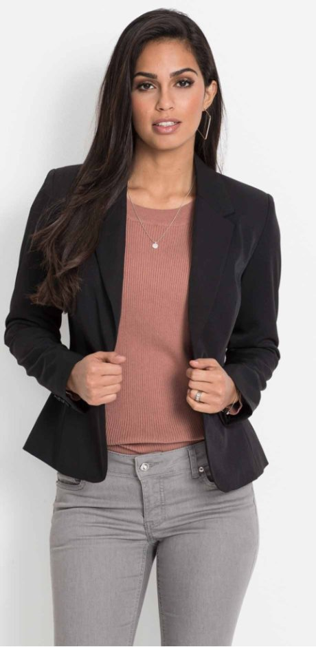 Damen - Business-Kurzblazer - schwarz