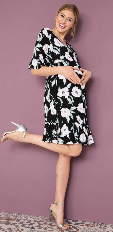 0c9ee92992fc53 Damen - Umstands-Shirtkleid mit Blumendruck - schwarz geblümt