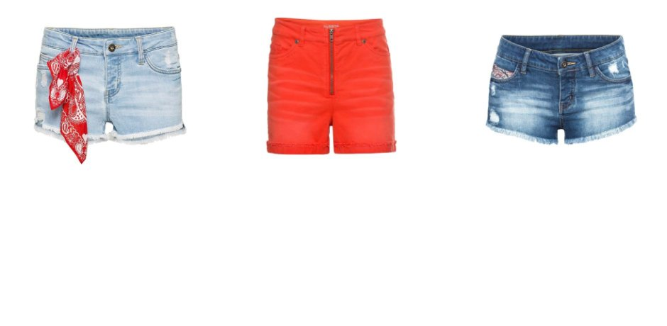 Stories - Jeans-Shorts mit Einsatz - blue stone