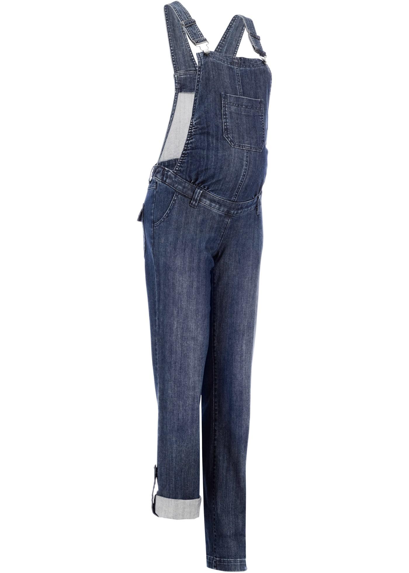 Umstands-Latzjeans, Straight in blau für Damen von bonprix