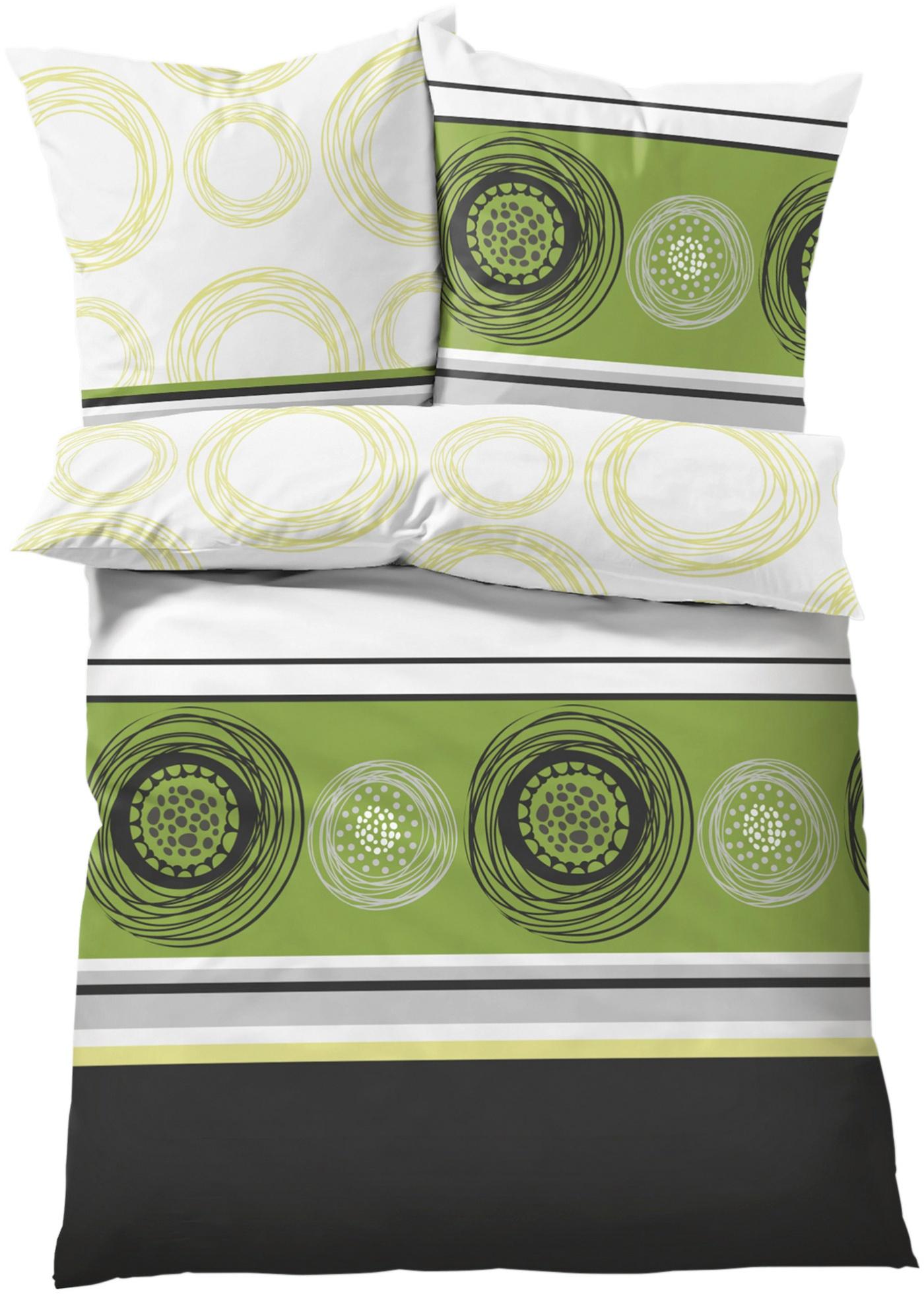 Bettwäsche mit Kreisen in grün von bonprix