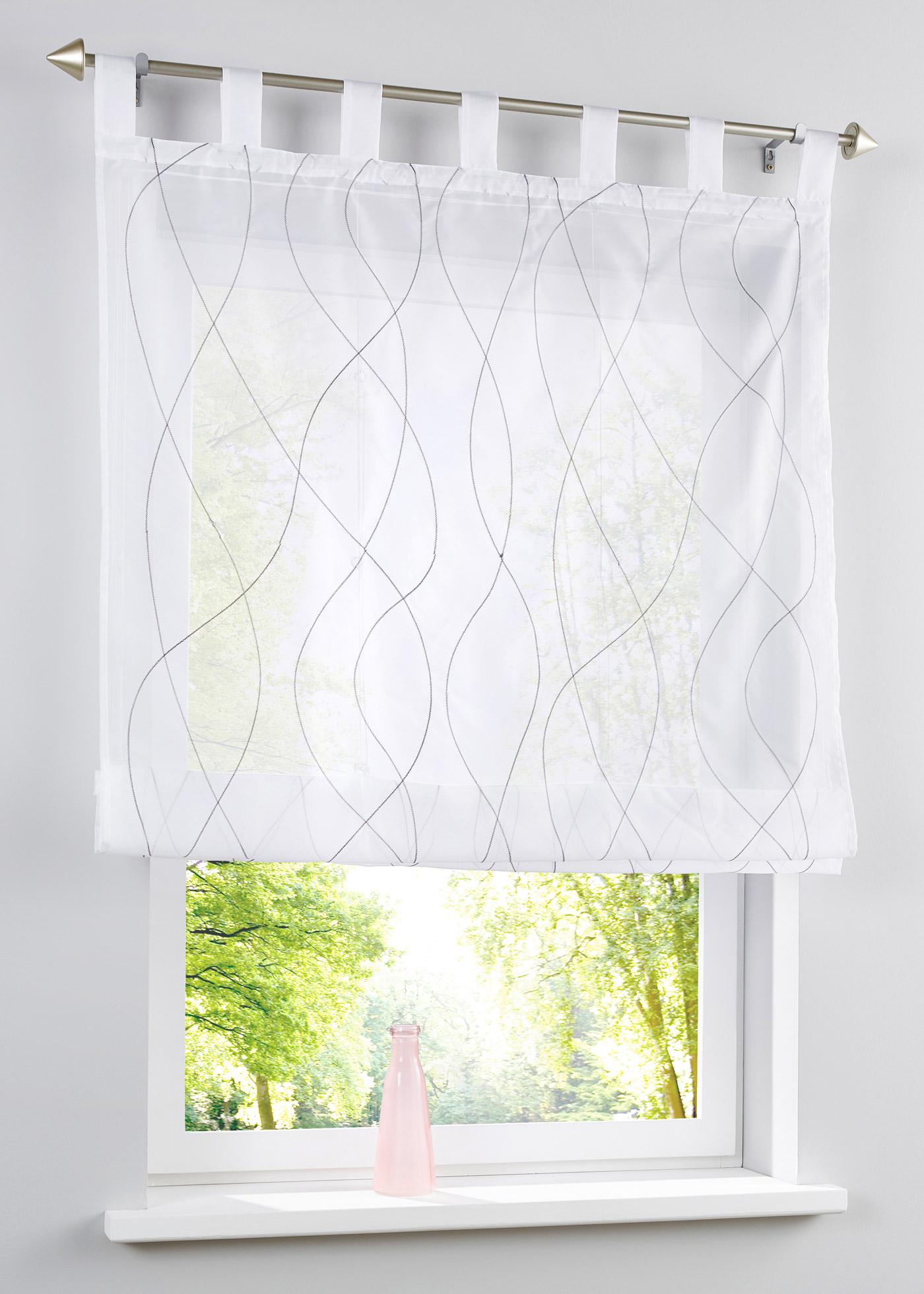 Transparentes Raffrollo mit Stickerei in weiß von bonprix