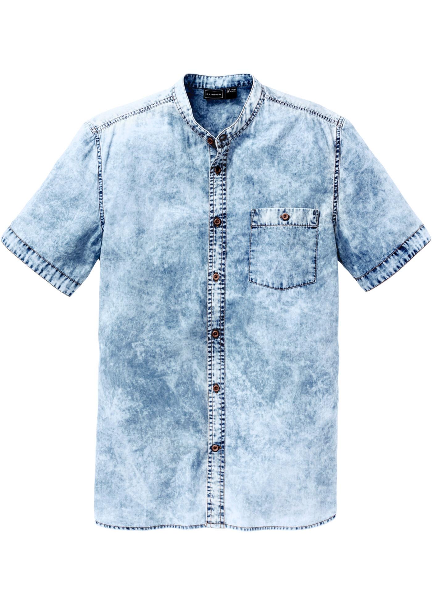 Kurzarm-Jeanshemd, Slim Fit in blau für Herren von bonprix