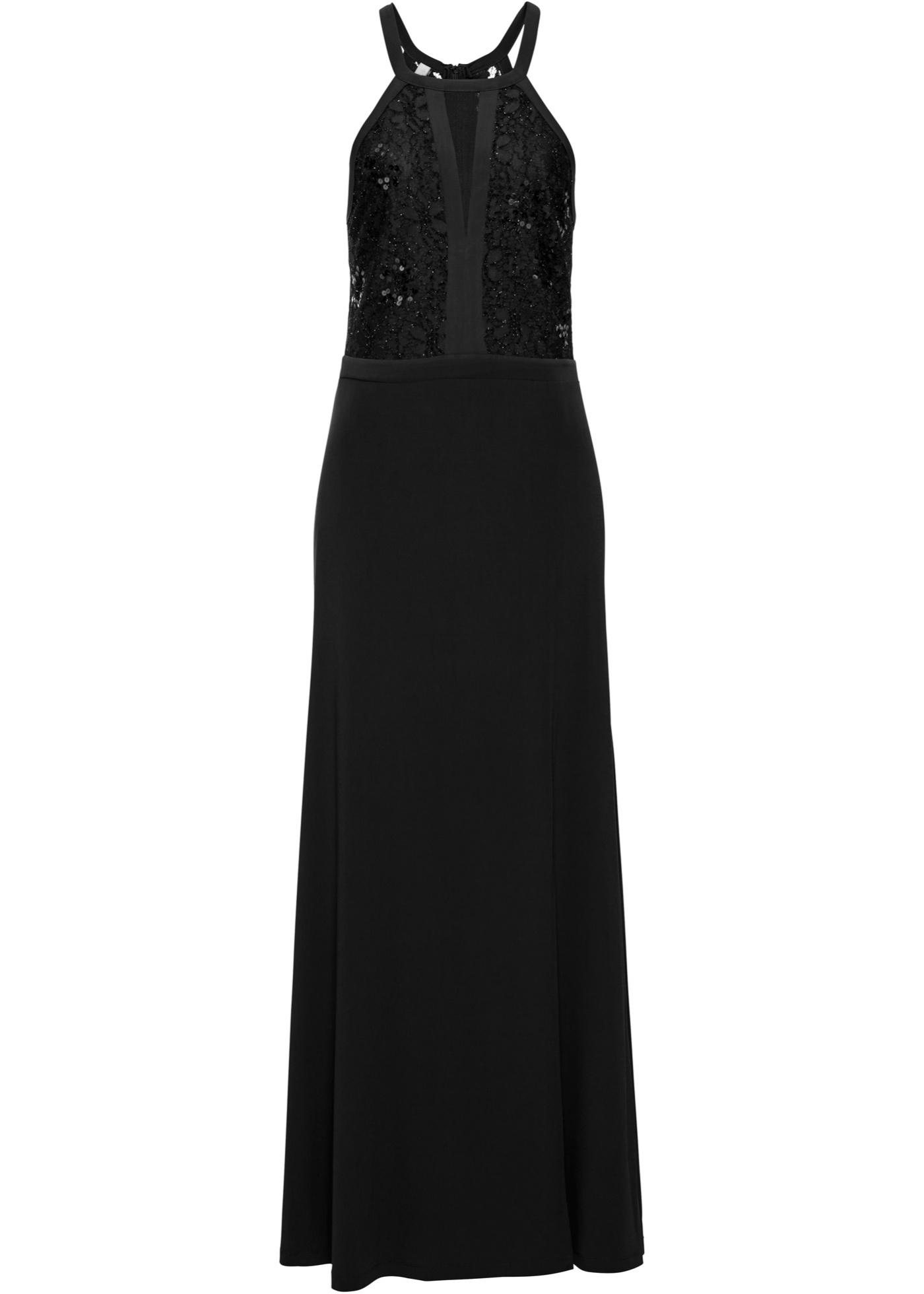 Festtagsmode - Neckholder Kleid mit Spitze und Pailletten › bonprix › schwarz  - Onlineshop Bonprix