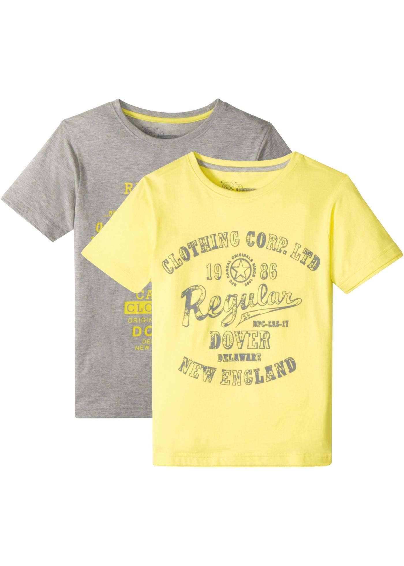 T-Shirt (2er-Pack) kurzer Arm  in grau für Jungen von bonprix