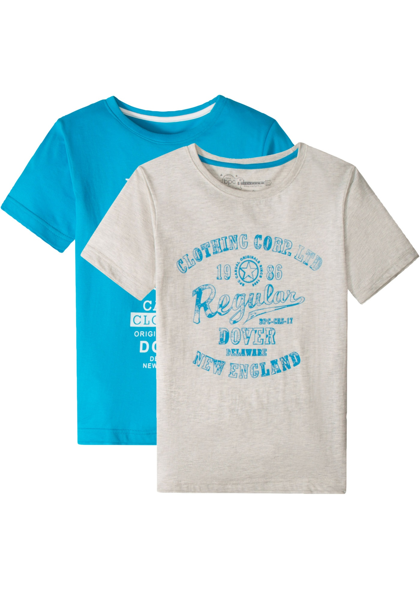 T-Shirt (2er-Pack) kurzer Arm  in blau für Jungen von bonprix