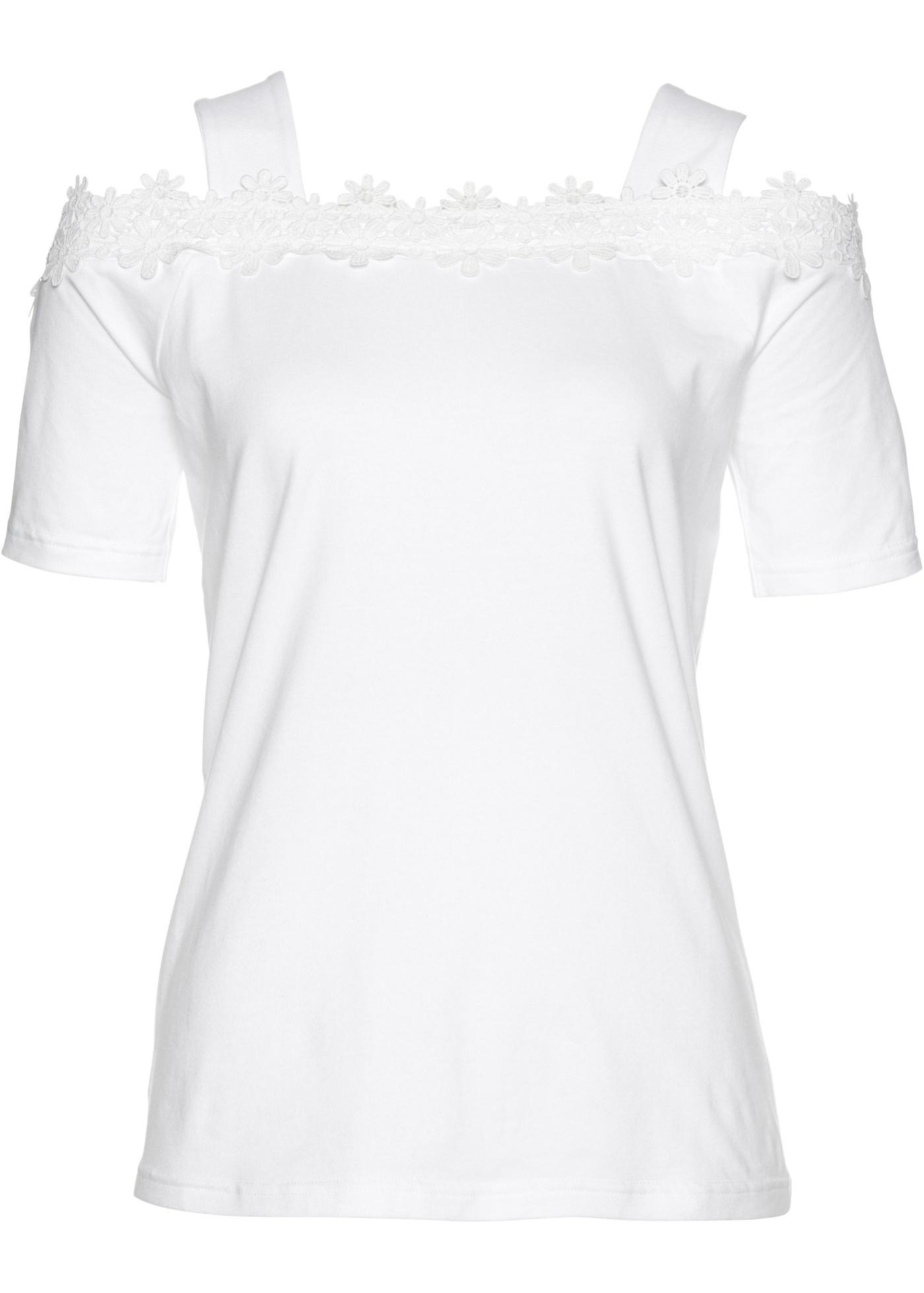 Cold-Shoulder-Shirt kurzer Arm  in weiß für Damen von bonprix