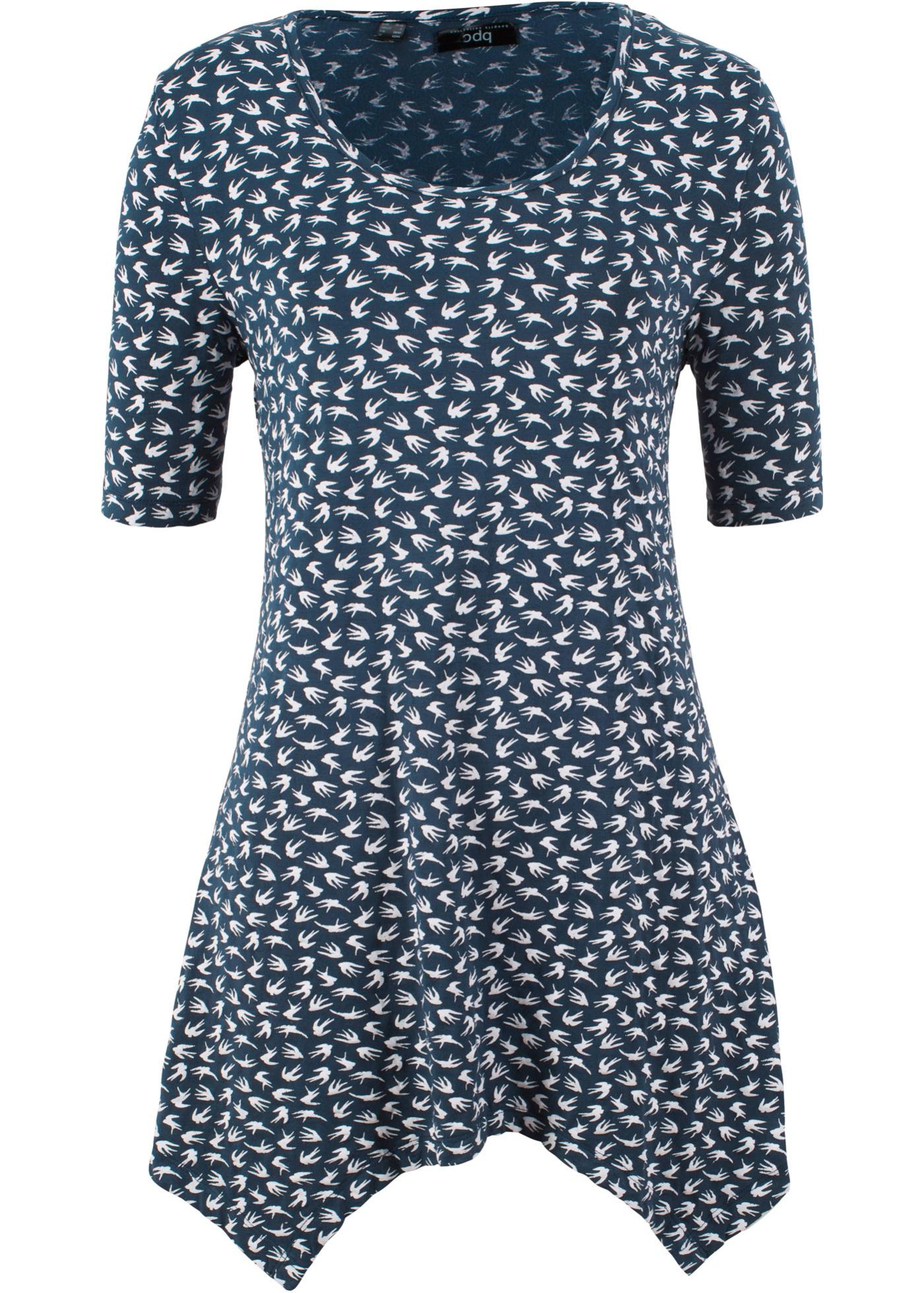 Halbarm-Zipfel-Shirt in blau für Damen von bonprix