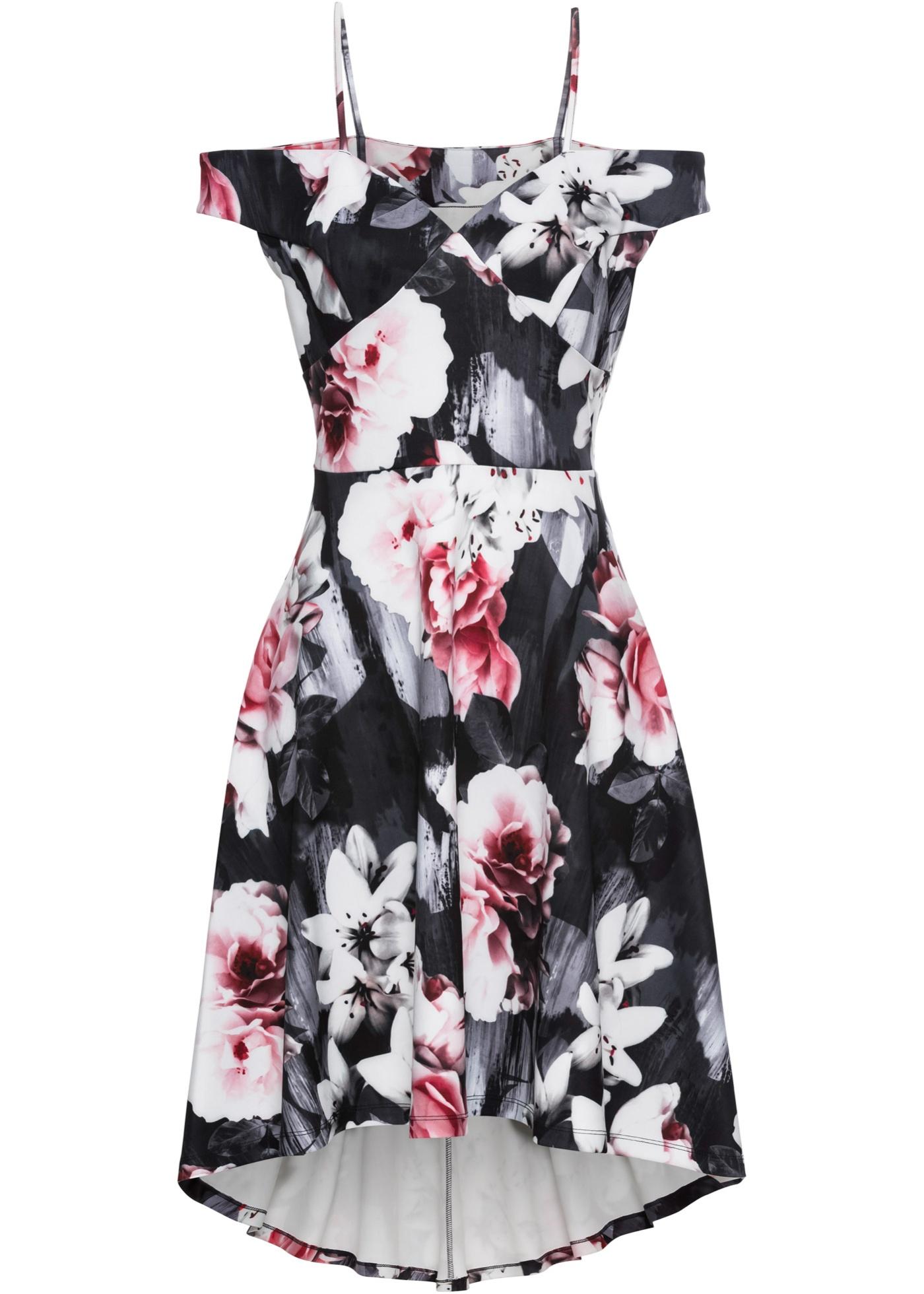 carmen-kleid mit blumenprint in schwarz für damen von
