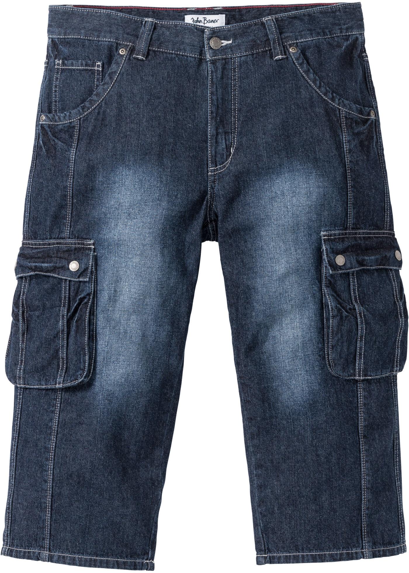 3/4-Jeans, Regular Fit mit Cargotaschen in blau für Herren von bonprix