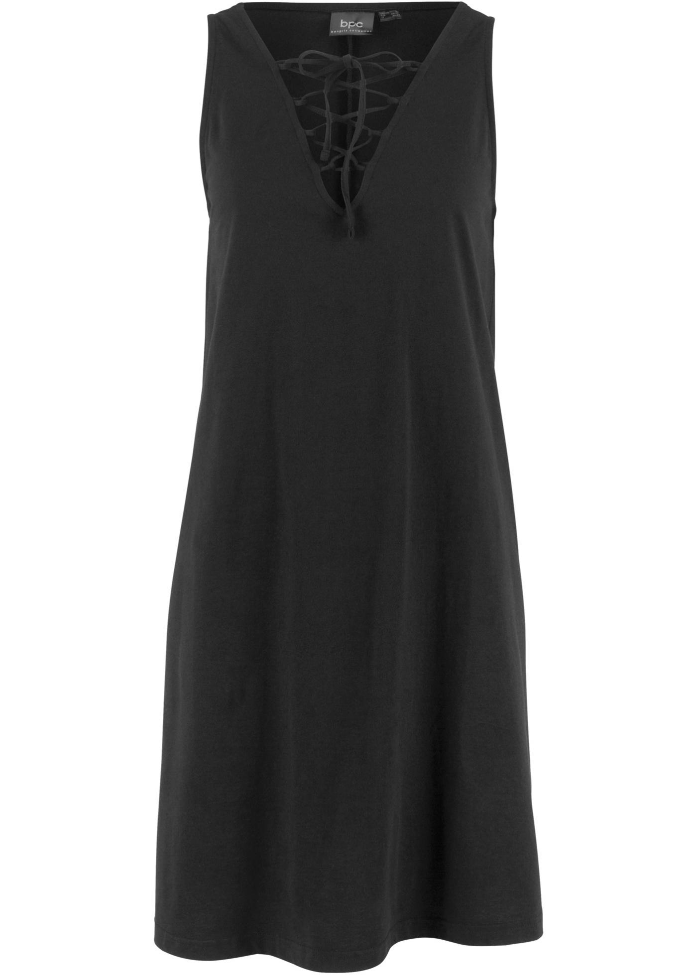 Jerseykleid mit Schnürung ohne Ärmel  in schwarz für Damen von bonprix