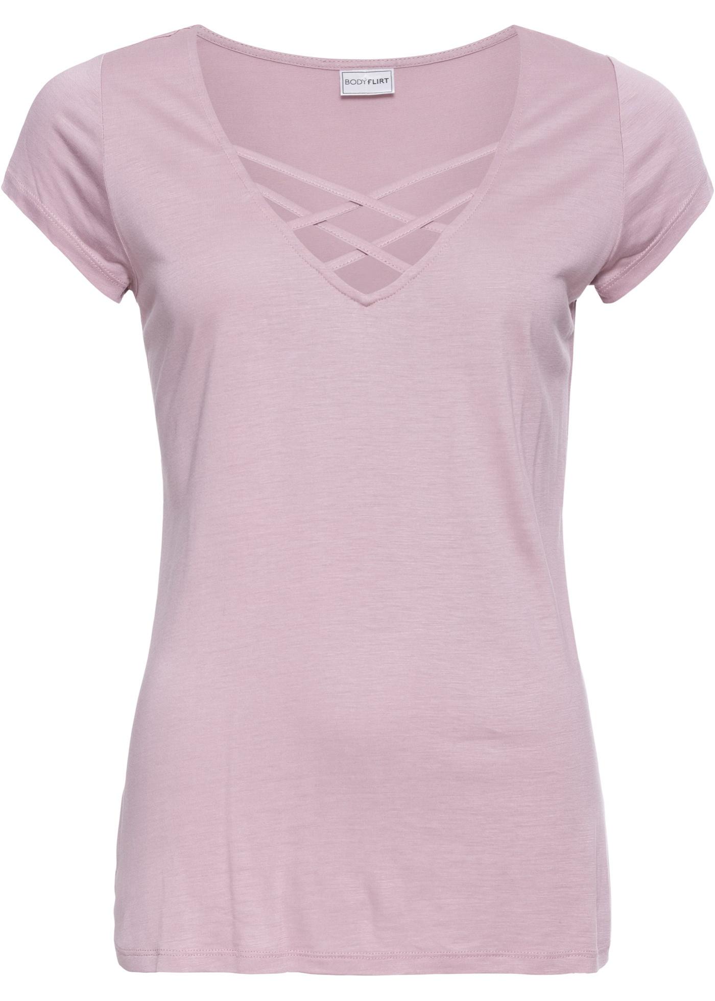 Shirt kurzer Arm  in rosa (V-Ausschnitt) für Damen von bonprix