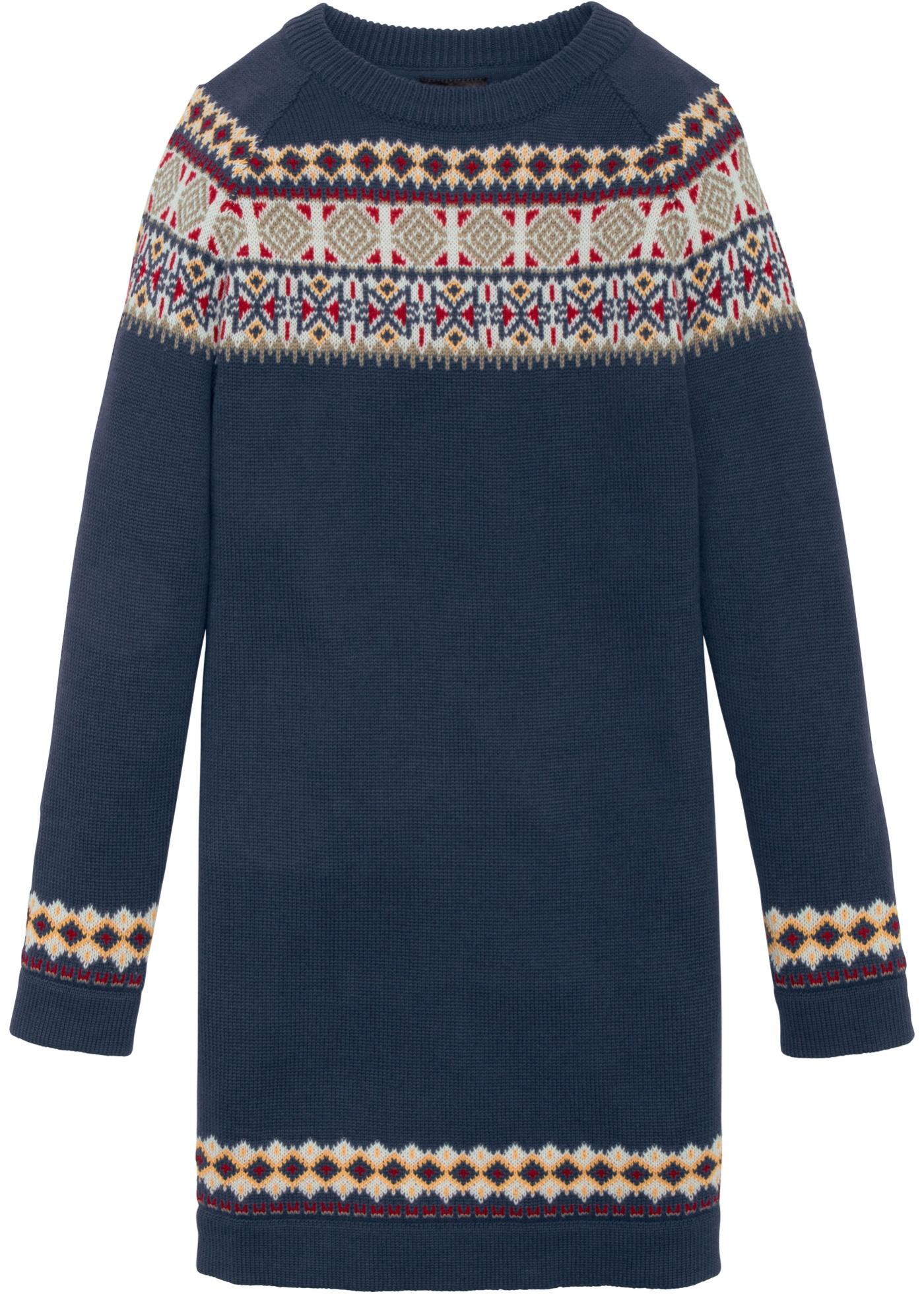 Mädchen,  Kinder bonprix Strickkleid mit Norwegermuster blau, rot, weiß | 08941101087793