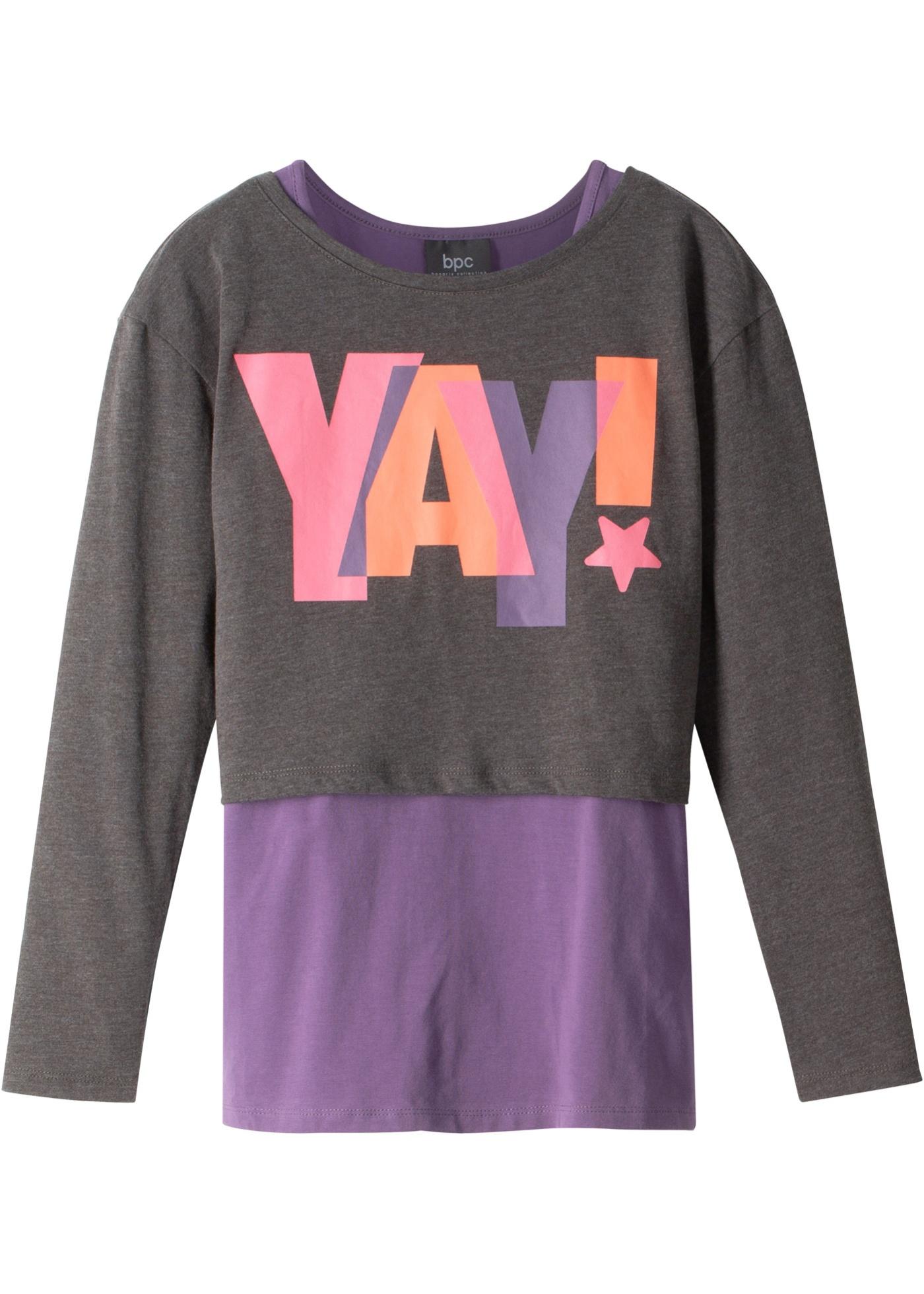 Boxy-Langarmshirt mit Top (2-tlg.) in grau für Mädchen von bonprix