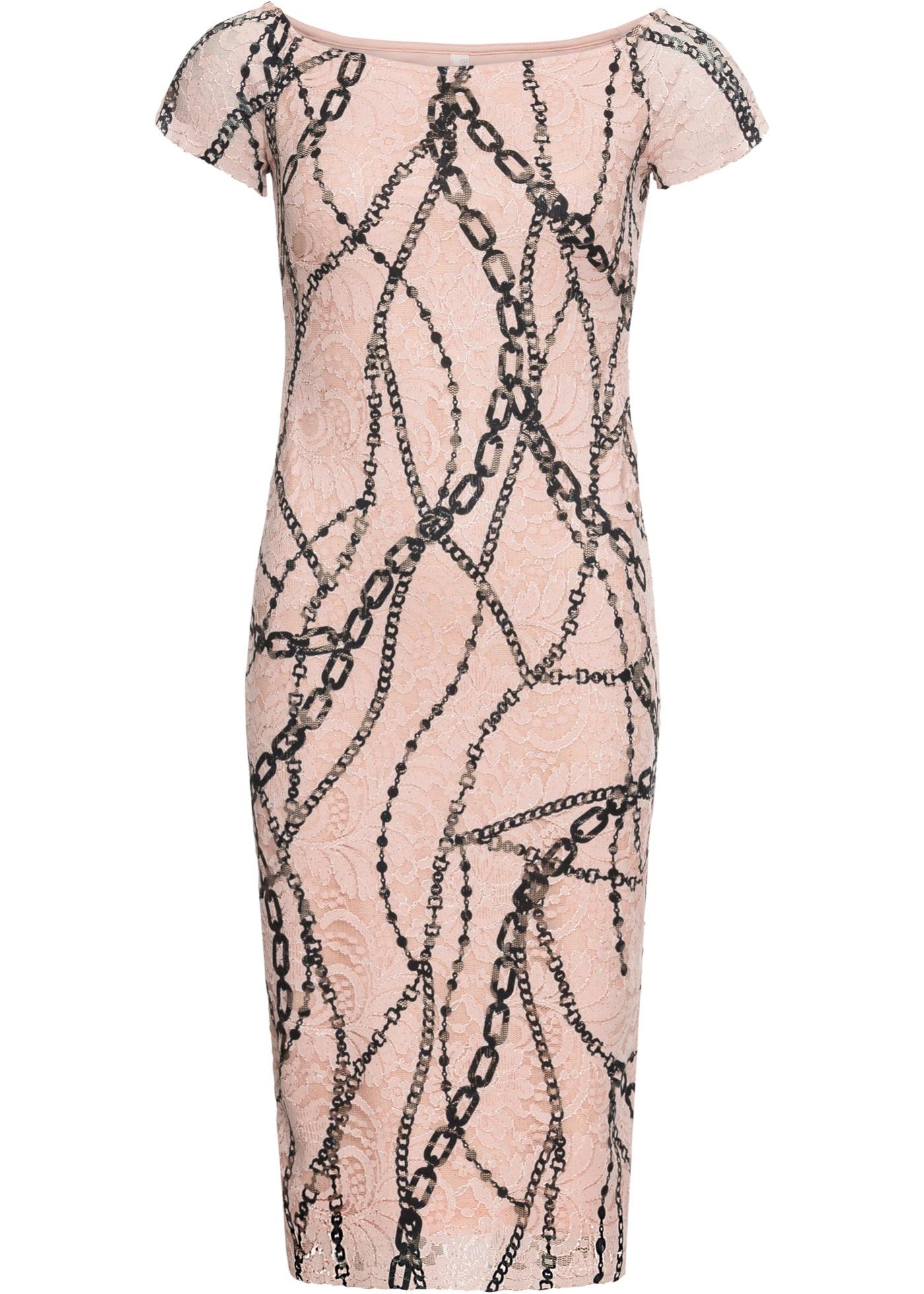 Carmen-Kleid mit kurzen Ärmeln in beige für Damen von bonprix