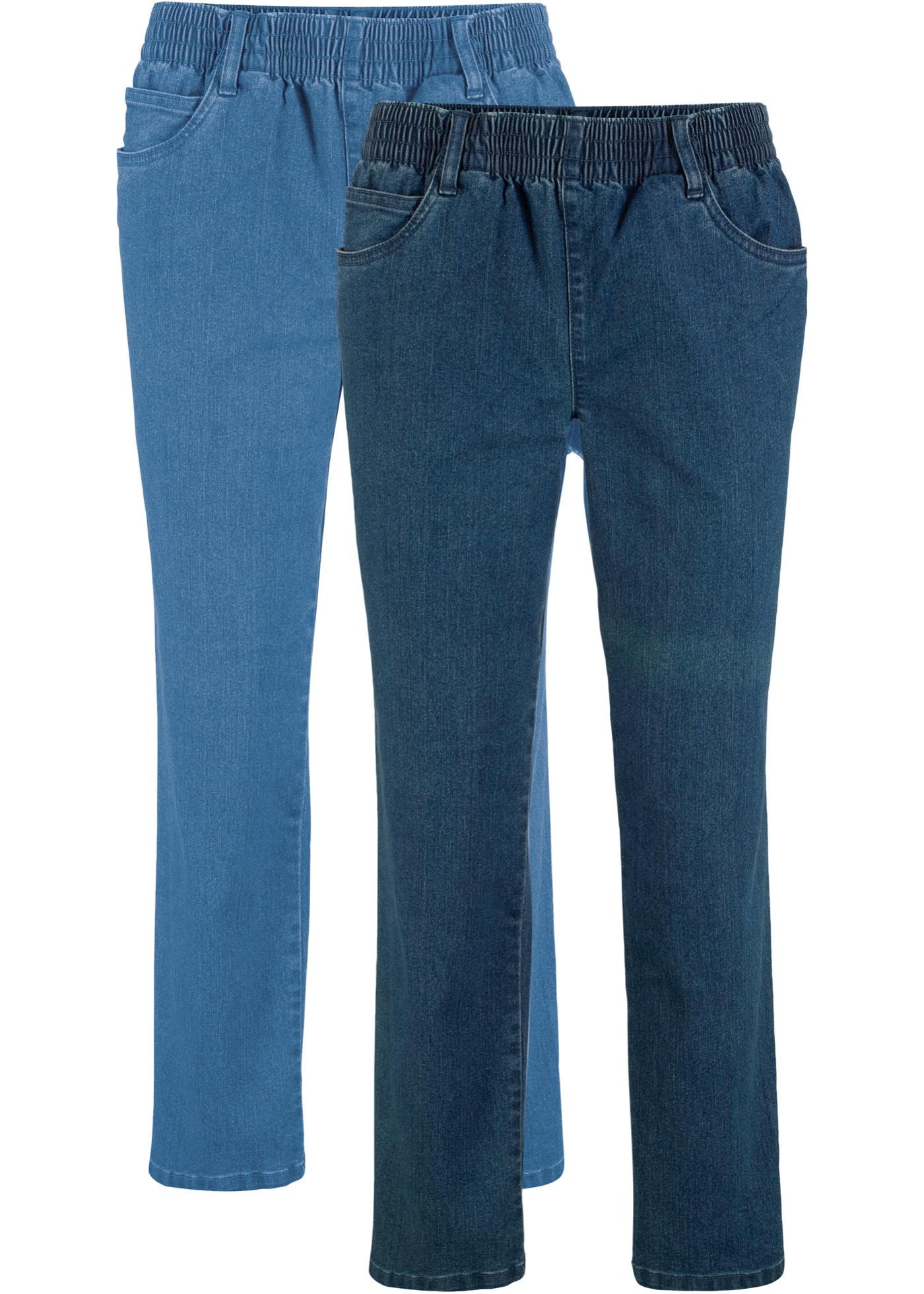 7/8-Stretch-Hose mit Bequembund (2er-Pack) in schwarz für Damen von bonprix