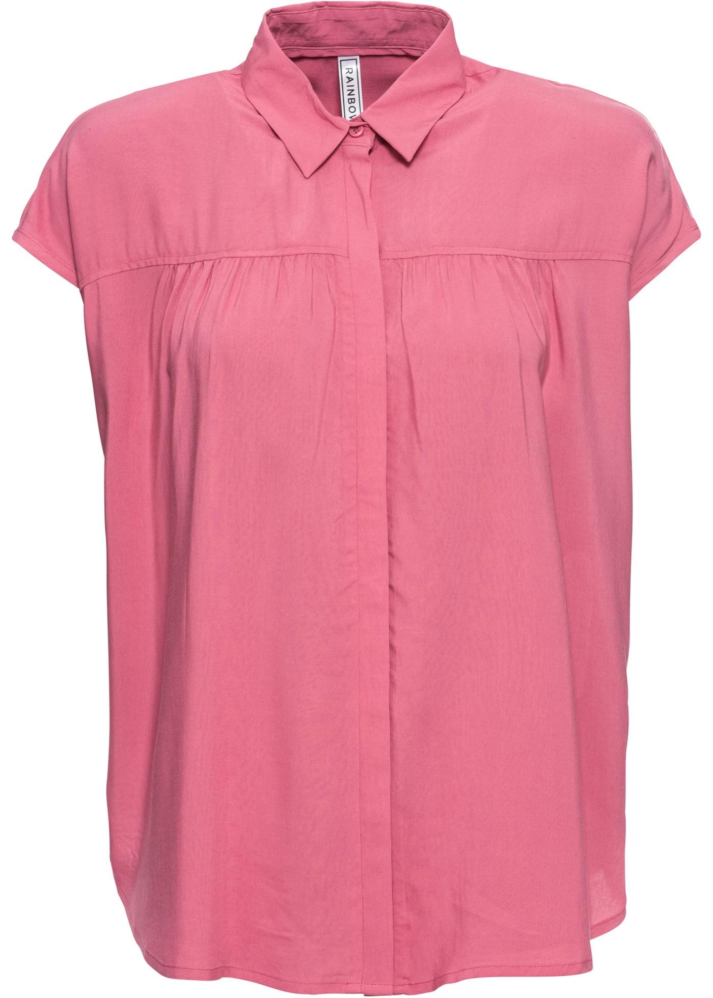Kurzarmbluse in rosa für Damen von bonprix