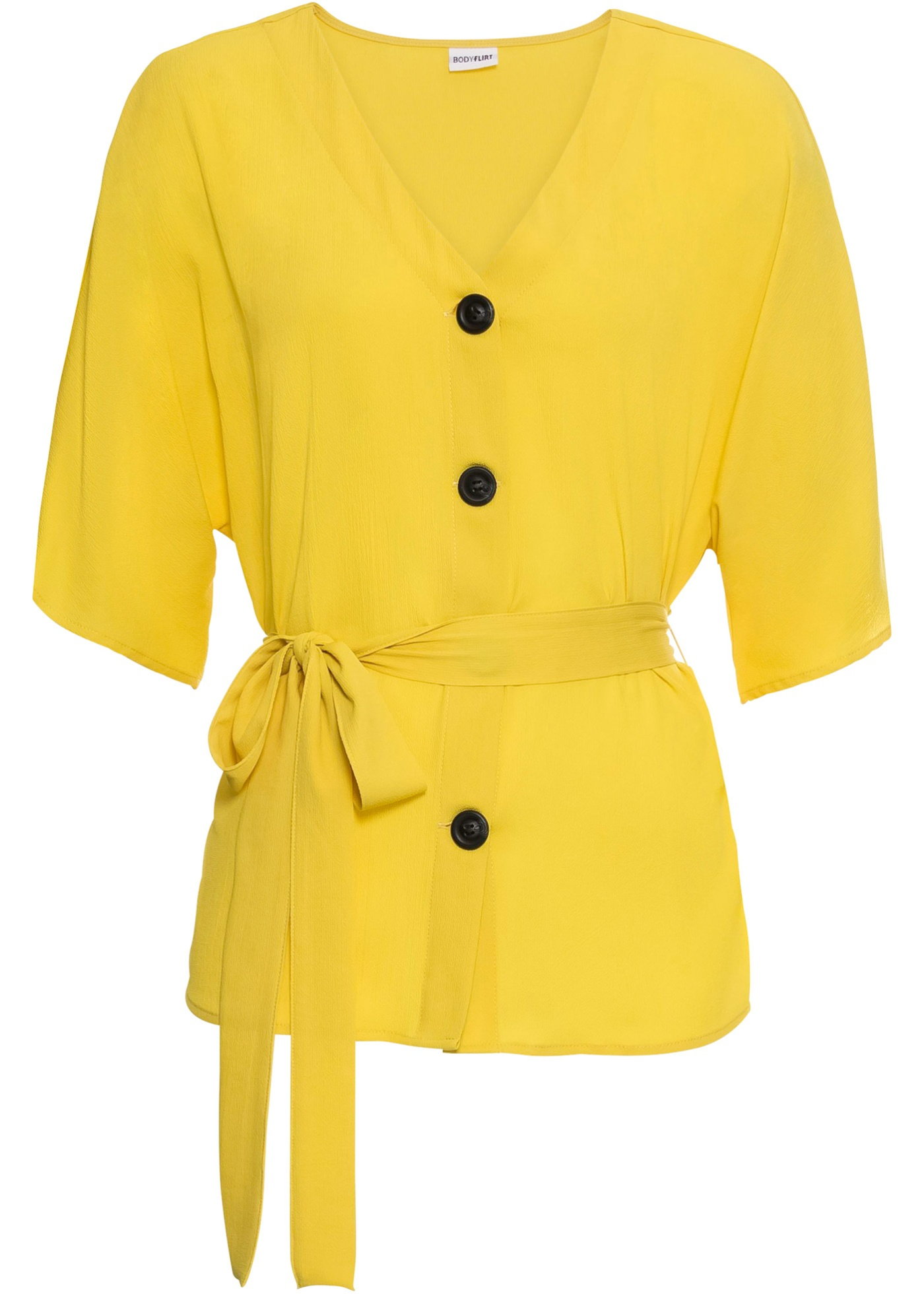 Bluse mit Bindeband kurzer Arm  in gelb für Damen von bonprix