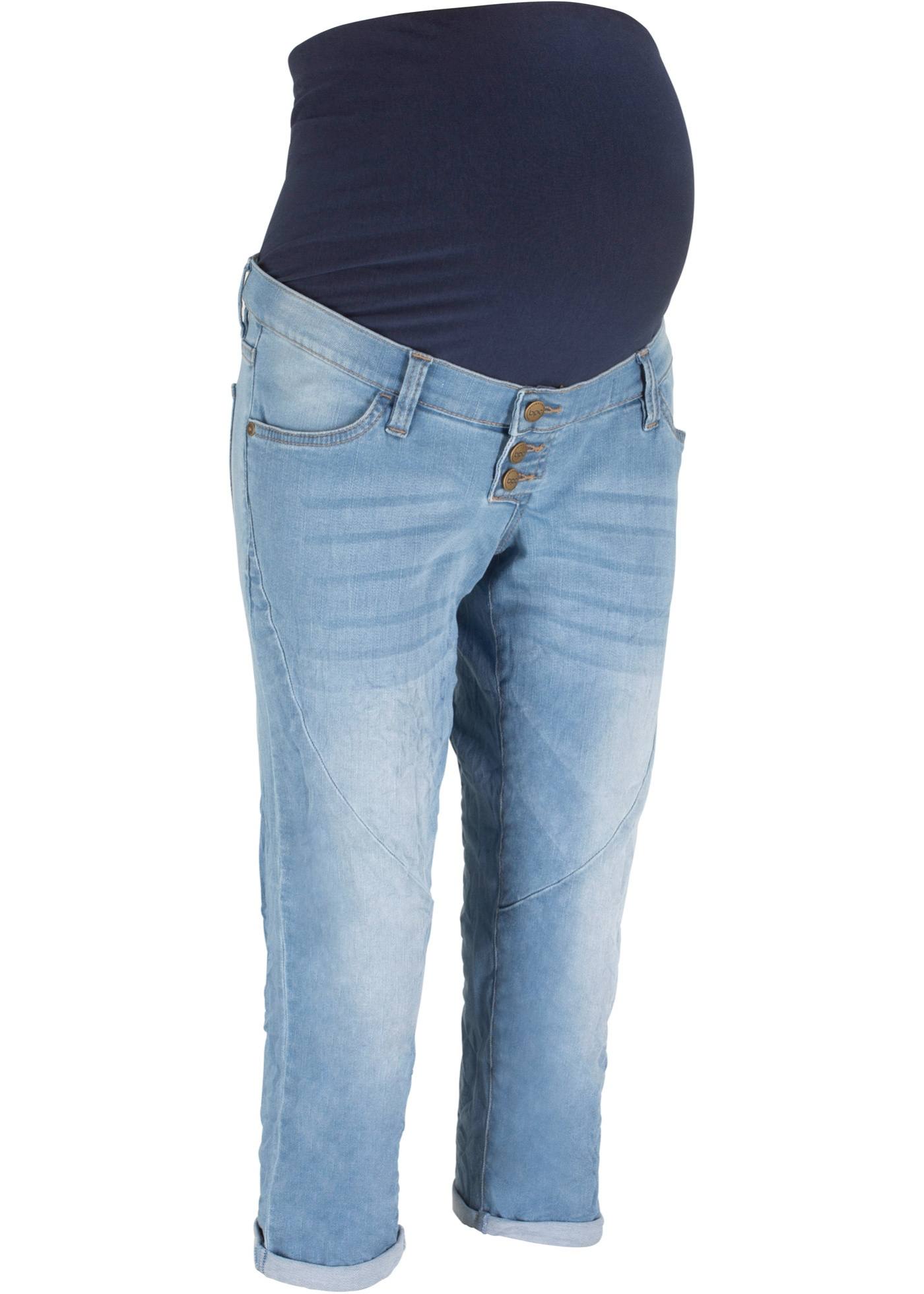 Umstands-Boyfriendjeans, Capri-Länge in blau für Damen von bonprix