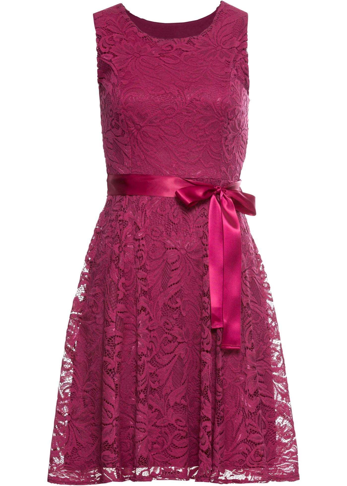 Spitzenkleid mit Satinband ohne Ärmel  in lila für Damen von bonprix