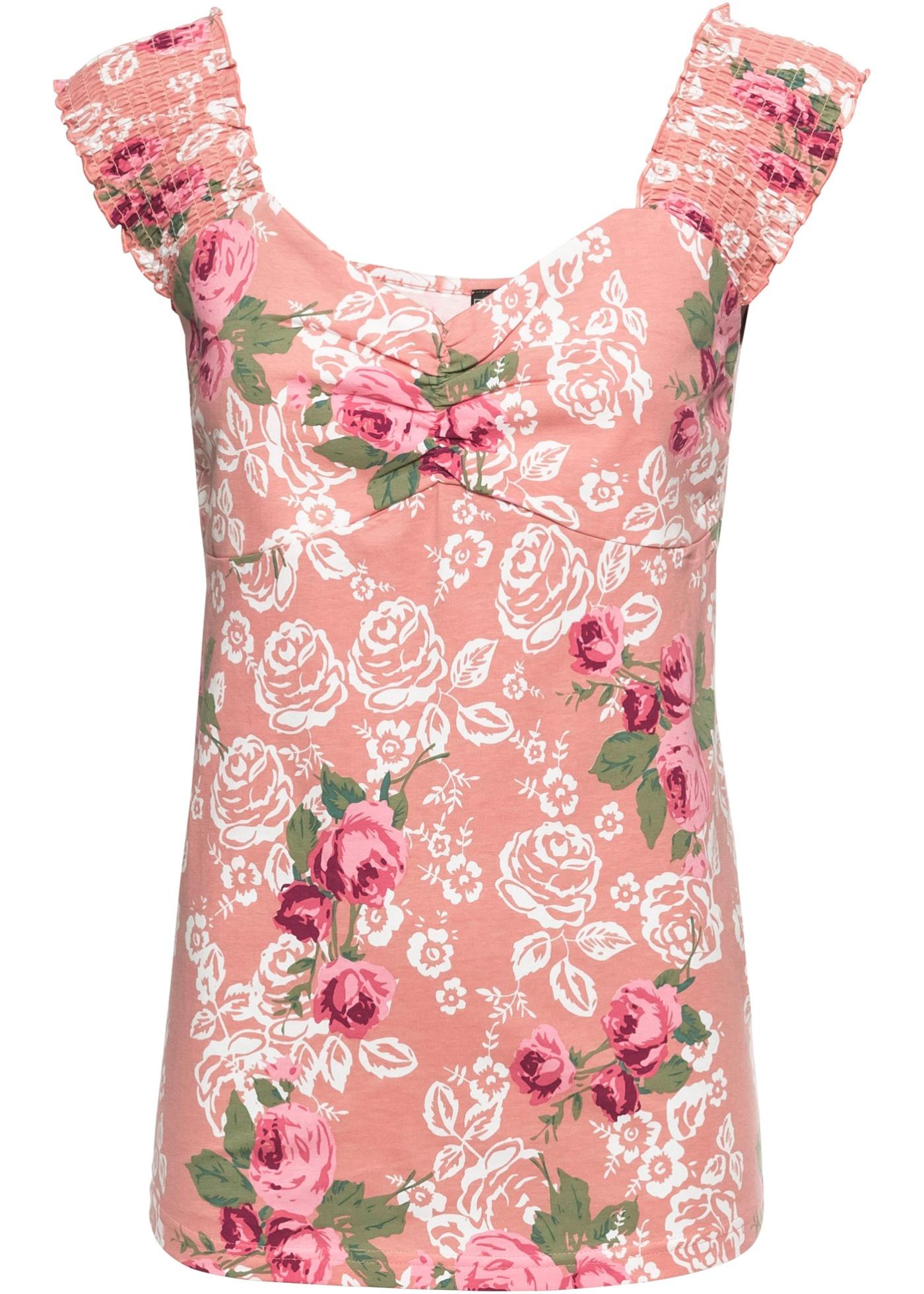 Damen bonprix Shirt mit Blumen rosa | 08901594391265