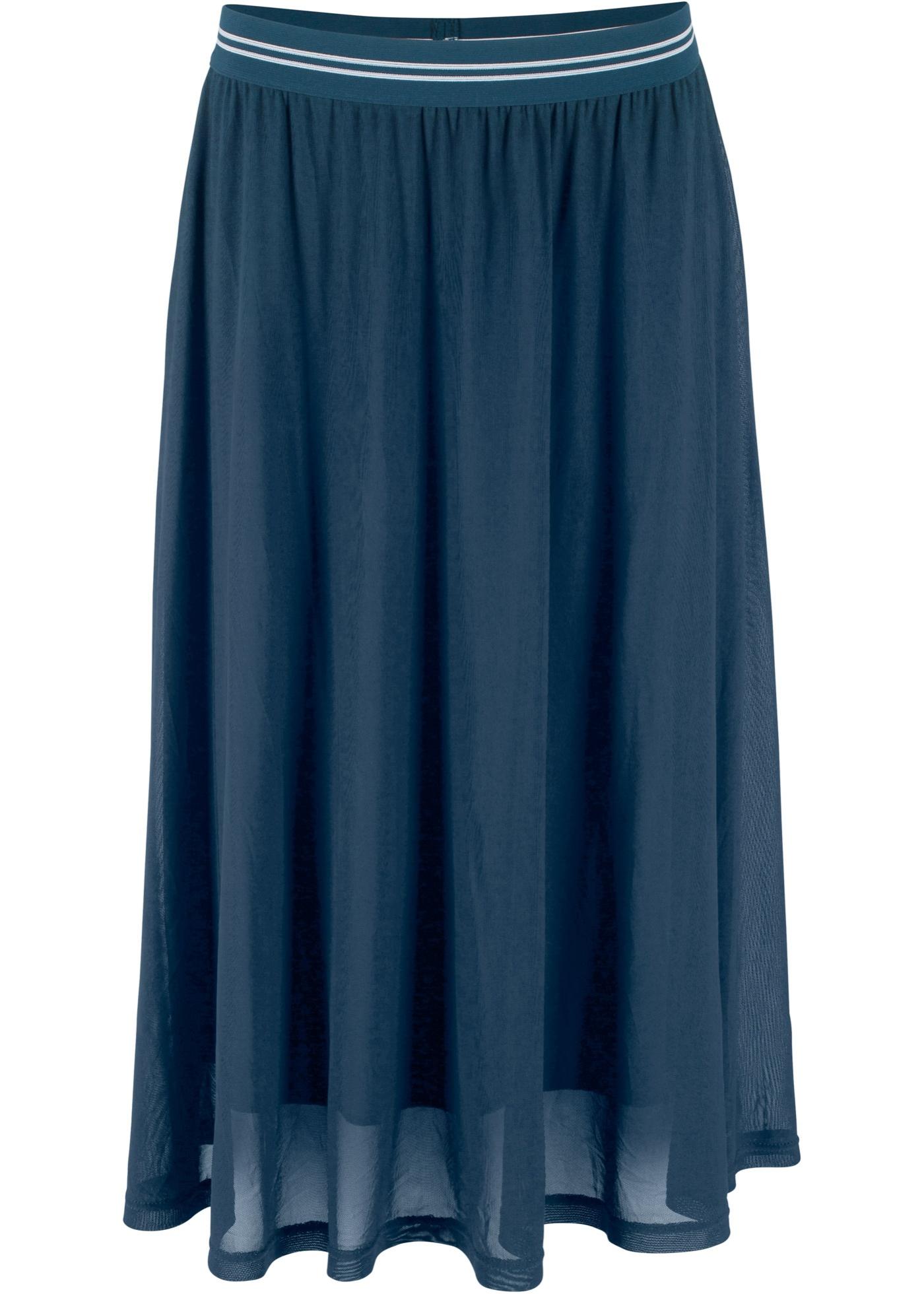 Mesh-Rock mit elastischem Bund in blau für Damen von bonprix