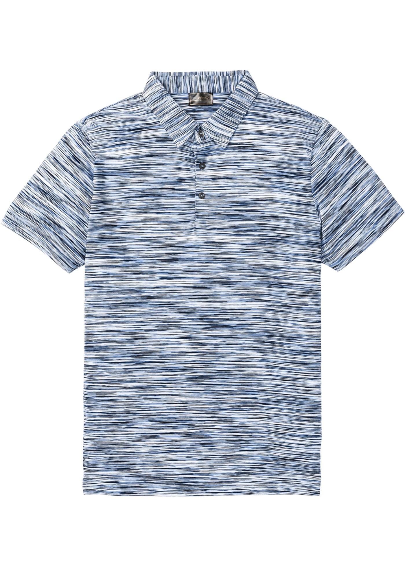 Meliertes Poloshirt kurzer Arm  in blau für Herren von bonprix