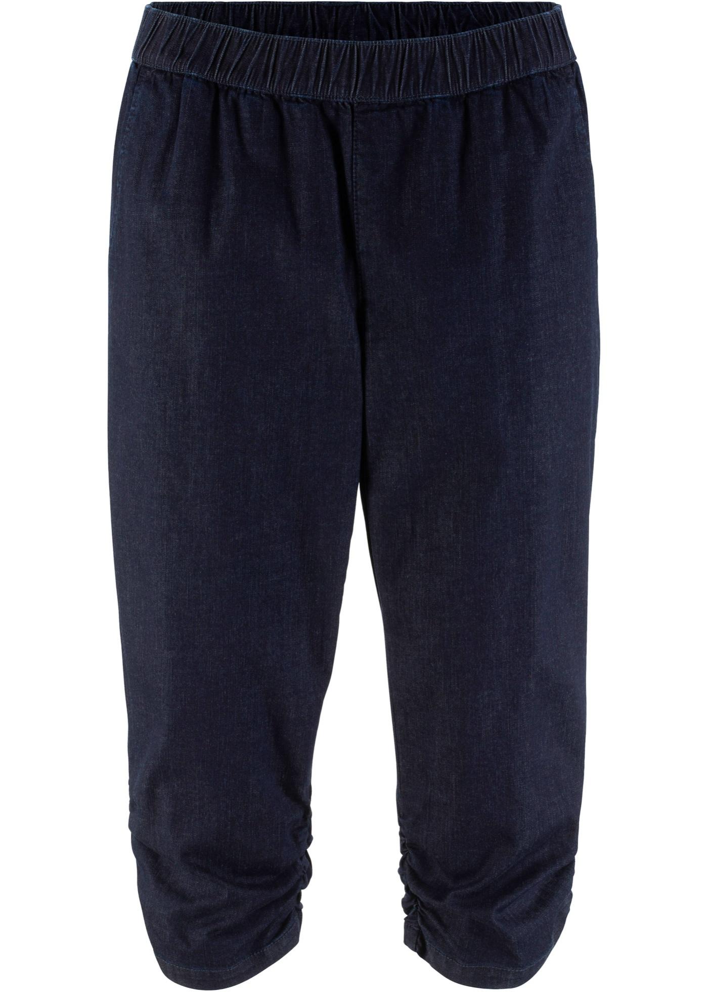 3/4-Stretch-Jeans mit Raffung